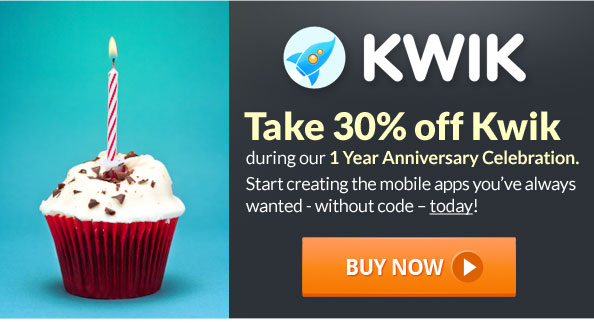 Save 30% off Kwik during our 1 Year Anniversary Celebration